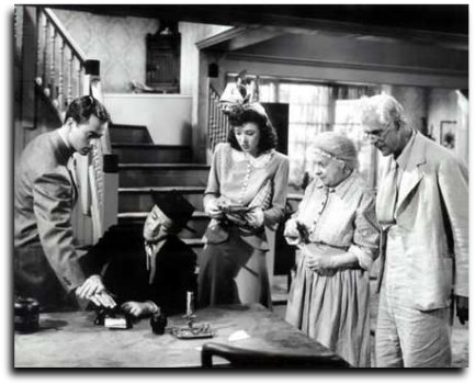 """The Boogie Man Will Get You"", with Larry Parks, Peter Lorre, Miss Jeff Chandler, Maude Eburne, and Boris Karloff"